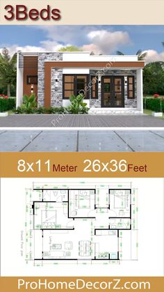 Small Modern House Plans, Simple House Plans, Beautiful House Plans, Simple House Design, Family House Plans, House Front Design, Three Bedroom House Plan, Small House Floor Plans, Modern Bungalow House