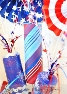 Pool noodle firecracker craft- 4th of July decorations- rocket party