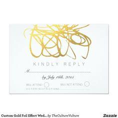 Custom Gold Foil Effect Wedding RSVP Reply Card