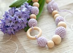 Crochet wooden beads nursing mammy necklace in lavender. Teething necklace for her.. $23.00, via Etsy.