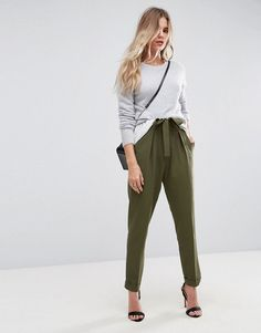 ASOS Woven Peg Pants with Obi Tie - Green