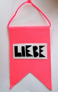 Love banner Valentine's Day with German word for love Liebe in black and hot pink wall hanging home decor on Etsy, $45.00