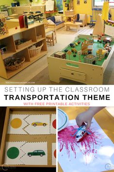 Setting Up the Transportation Theme in the Toddler and Preschool Classroom Setting up a transportation theme in the toddler and preschool classroom is so easy, because there is such a wide variety of activities to try! Transportation Theme Preschool, Kindergarten Classroom Decor, Diy Classroom Decorations, Preschool Rooms, Preschool Centers, Toddler Classroom, Classroom Setting, Kindergarten Activities, Classroom Themes