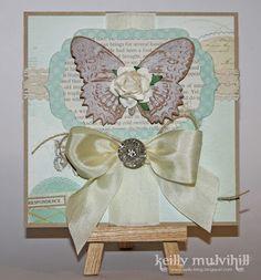 Newsprint Butterfly Silk Card