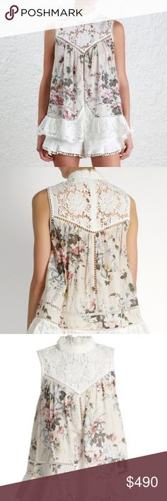 Zimmermann Aerial Smock, Size AU 2/US6-8 Delicate graphic florals lend classic charm to this swingy Zimmermann blouse. Weighty lace composes the yoke and trims the hem. Sleeveless. Hidden back zip.  Fabric: 100% cotton.  Worn by Princess Madeleine of Sweden in St Tropez. Zimmermann Tops