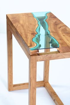 "a river table you can put your arms around! natural reclaimed elm hand-cut blue glass silky smooth finish 30"" x 16"" x 30"" *available..."