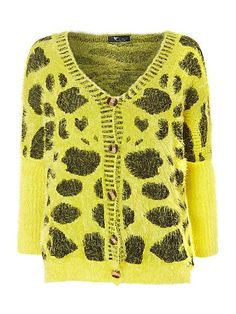 Cutie. Knitted black and yellow leopard print fluffy cardigan.