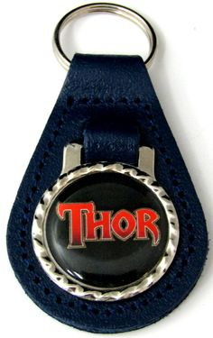 Thor Logo Blue Genuine Leather Key Fob With Steel Chain Ring FOB-0088