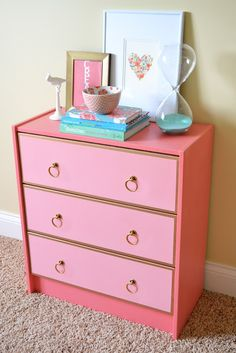 Ikea hack  Rast  Chest of drawers  The box was painted with Pratt & Lambert's Mid Rose  The drawer fronts are painted with Pratt & Lambert's Coral Pink  The hardware was ordered online from Lee Valley & Veritas