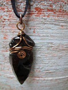 Obsidian arrowhead necklace Primitive Jewelry Wire by BrassSun