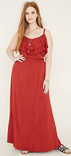 b90420681d8a Plus Size Ruffled Maxi Dress Casual Σύνολα