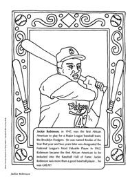 jackie robinson coloring sheet first african american to play for a major league baseball team