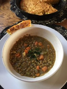 This easy lentil soup is a wonderful meal to warm up on a chilly day. And it's healthy to boot!