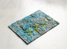 ACEO textured blue mixed media collage by SewDanish on Etsy, $12.00
