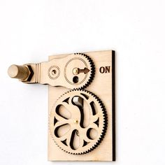 Pre-Assembled (Not a kit) These whimsical sets of gears translate a rotary action into a vertical motion. Real brass screws and washers speak of the quality of this quality piece from. This is the onl (Woodworking Cnc) Switch Plate Covers, Light Switch Plates, Light Switch Covers, Wood Projects, Woodworking Projects, Cool Gadgets, Cool Stuff, Home Goods, Home Improvement
