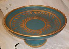 Ceramic Bowl Vee Jackson Turquoise Blue Gold Vase Lg. Pedestal Dish Hand Painted Gold Trim Art Ware Calif Pottery Mid Century San Gabriel CA