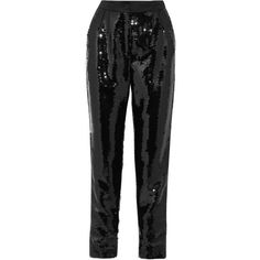 Dolce & Gabbana Sequined satin tapered pants (51.175 CZK) ❤ liked on Polyvore featuring pants, side stripe pants, dolce gabbana trousers, tapered pants, tapered trousers and tuxedo pants