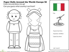 First Grade Paper Dolls Community & Cultures Worksheets: Italian Paper Doll