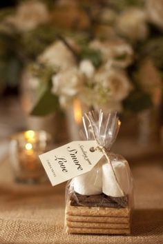 DIY S'more Wedding Favors. Price this out...cheaper than jam or apple butter? #CheapWeddingFavors