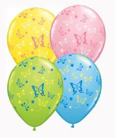 """Assorted Butterflies 11"""" Latex Balloons 25pk"""
