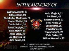 Firefighters. These lost their lives in the Prescott fires.