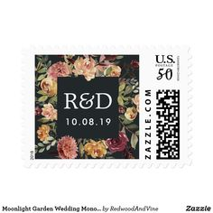 Moonlight Garden Wedding Monogram Postage Finish your invitation envelopes with these elegant floral wedding postage stamps featuring your initials and wedding date framed by a square border of lush watercolor flowers in autumnal shades of burgundy, blush, marsala and ivory with green foliage and leaves. Coordinates with our Moonlight Garden wedding collection.