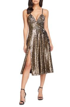 NEW DRESS the POPULATION brushed Gold Sequin Teresa Stretch Bodycon Gown M 4//6