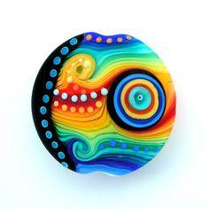 Handmade lampworked bead lentil focal1FREE WORLDWIDE by michals