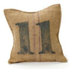 Vintage-Sack-Pillow. Paint number on burlap