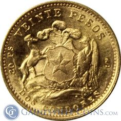Chile 20 Peso Gold Coin - Random Date (.1177 oz of Gold) http://www.gainesvillecoins.com/category/561/central-and-south-american-gold-coins.aspx
