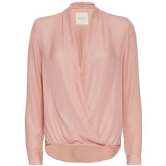 mason by michelle mason Wrap Blouse: Blush ($368) ❤ liked on Polyvore featuring tops, blouses, see through blouse, silk blouses, sheer blouse, long sleeve silk blouse and sheer top