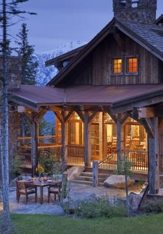 Rustic Cabin with a perfect porch.