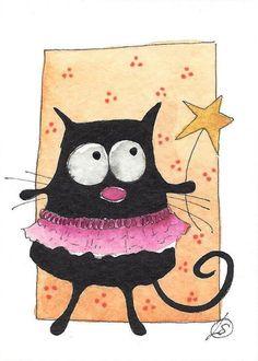 ACEO Original watercolor painting whimsical FAT CAT ART ballerina #IllustrationArt