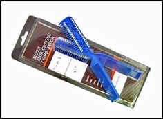 """C300A - Deluxe Hair Cutter Comb w/Razor ,fc1003 , UPC: 706569310030 • Length: 8"""" • Plastic Body • Assorted Colors: Blue, Red • Comes with Extra Razor Blades • Built-in Comb for Removing Knots • Razor Comb has 4 Different Sides for 4 Different Cuts: (1) Medium Cuts (2) Extra Short Cuts (3) Short Cuts (4) Light Cuts • Blister Card"""