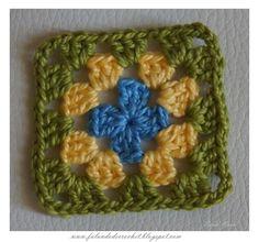 Quadradinho em crochê cores Bandeira do Brasil (crochet square)
