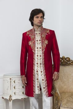 MT07 - three-piece fusion red sherwani with ivory English trousers and kurta