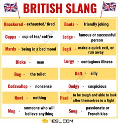 British Slang: 25 Awesome British Slang Words You Need to Know! - 7 E S L. Slang English, English Idioms, English Phrases, Learn English Words, English Lessons, French Lessons, Spanish Lessons, Teaching Spanish, Advanced English Vocabulary