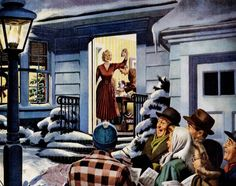 Coffee For The Carolers - 1950 Maxwell House Coffee ad detail.