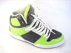 Osiris Bronx Neon Green black skate mens tennis sneakers hightops shoes sz 9.5D #Osiris #Skateboarding