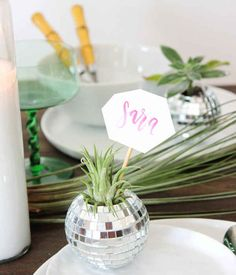 Add some flair by adorning name plates to mini disco balls stuffed with succulents: