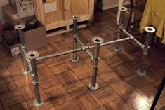 wood dining table with plumbing pipe leg - Google Search