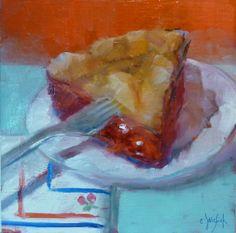 Cherry Pie  6x6 original oil painting  by CarolJosefiakFineArt, $65.00