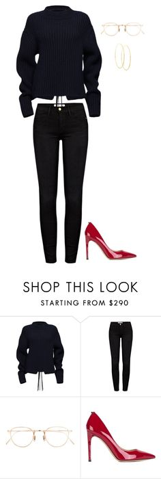 """Red Detail."" by lucillefourny ❤ liked on Polyvore featuring Magda Butrym, Frame, Eyevan 7285, Valentino and Lana"