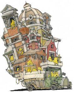 """Architecture by Mattias Adolfsson, via Behance  Expresiones idiomáticas: """"llevar la casa a cuestas"""" XDD"""