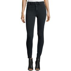 Dl1961 Premium Denim No. 1 Super Skinny Ultra High-Rise Ankle Jeans ($188) ❤ liked on Polyvore featuring jeans, black, cropped skinny jeans, skinny jeans, cropped jeans, high waisted skinny jeans and super skinny jeans