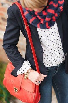 white polka dot button-down + black blazer + skinny jeans + blue/red striped scart