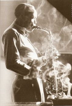 Sonny Stitt (1953)  [b.1924 - d.1982]  No one had a harder time dealing with Charlie Parker's legacy than this superb musician, whose sound and ideas on alto sax sounded so much like Bird's that he switched to tenor in order to be seen and heard as his own man.
