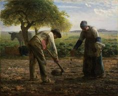 Jean-François Millet strikes again. (The Golf Wars - episode Paintings: Potato Planters by Jean-François Millet The Etretat Cliffs after the Storm by Gustave Courbet Landscape by Thomas Doughty The Man With The Hoe by Jean-François. Classic Paintings, Google Art Project, Fine Art, Millet, Millet Paintings, Museum Of Fine Arts, Jean Francois Millet, Painting Videos, Realism Art