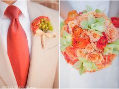 Orange Green Bouquet wedding