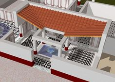 Atrium or courtyard. This functions as a main hall with four main rooms branching off and a smaller hallway directly through to the back yard. The room is roofed in tile with the center fountain open to the sky.